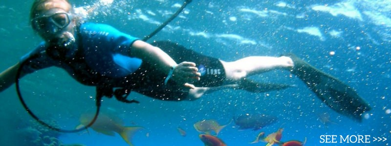 freediver water fun yacht play sailing catamaran seychelles cat luxury holidays charter diving reef fish