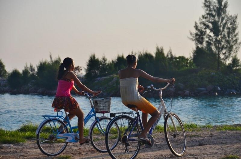 cycling bike sailing catamaran charter seychelles